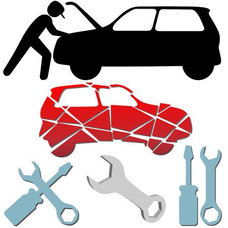 reparation automobile: Auto r�paration entretien voiture m�canicien symbole ic�ne ensemble. Illustration