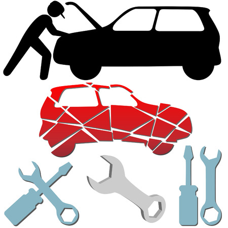 Auto Repair Maintenance Car Mechanic symbol icon set. 向量圖像