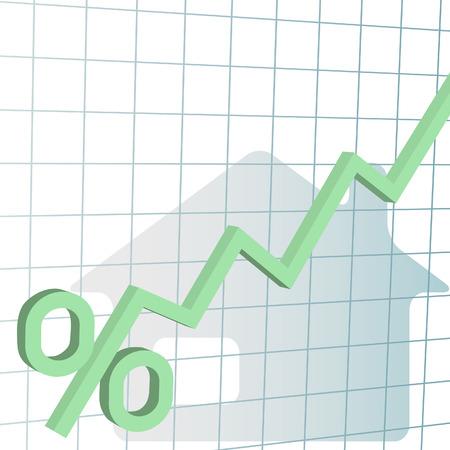 財務チャート高い住宅ローン金利のパーセントを追跡します。  イラスト・ベクター素材