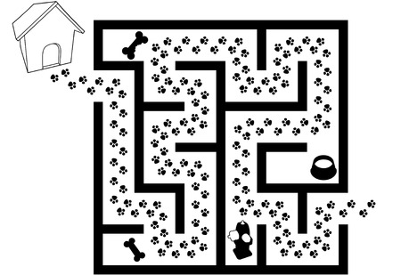 Maze Puzzle of Pet Puppy Dog Paw Prints Trail in black and white.