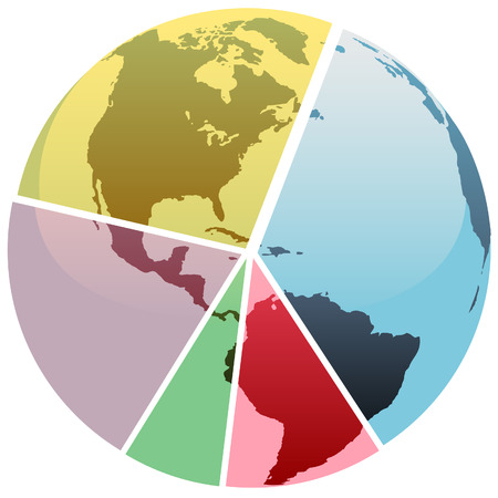 divided: Earth graph divided into a financial or economics pie chart of global market share.