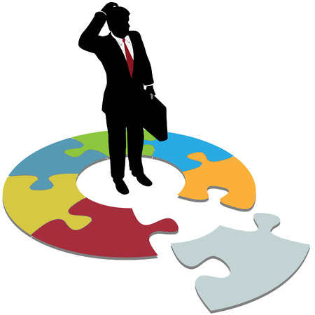 A business person searches to find solution piece and question answers.