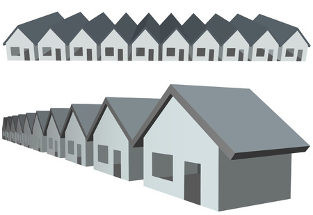 Twee rijen van verbonden huis symbolen als condominium constructie.