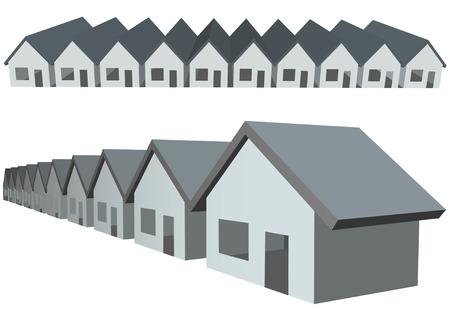 condominium: Two rows of connected house symbols as condominium construction. Illustration