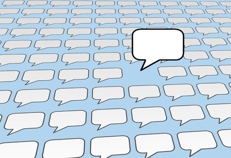 everybody: One speech bubble copy space voice talks over the noise of social media or blog voices on blue background.