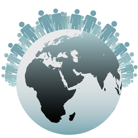 poblacion: Muchas personas est�n en el hemisferio norte como s�mbolos de la poblaci�n de la tierra.