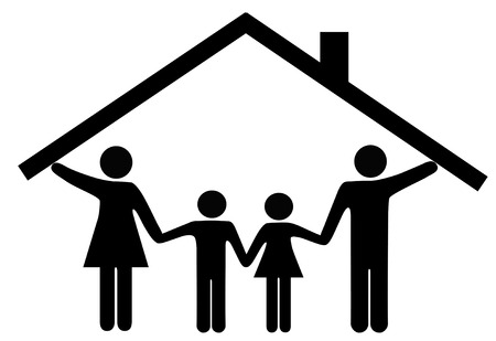 family: A family at home under one roof as mom and dad hold up the roof over the kids.