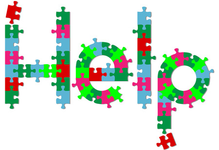answer: Jigsaw puzzle pieces search find HELP answer on a shadow.