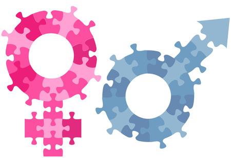 sexo femenino: Un par de símbolos de sexo masculino femenino de género como piezas de rompecabezas de rojo y azul.
