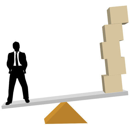 weighs: A business man weighs solutions to symbol cubes or shipping boxes on scale.