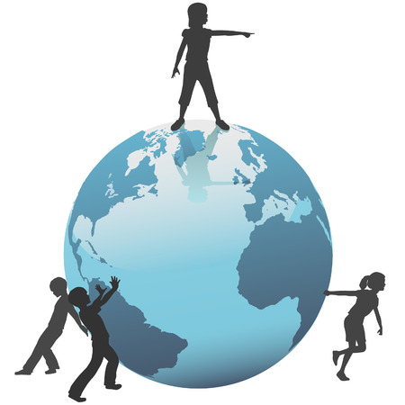 A group of Earth Kids move or save the world into the future. Vector