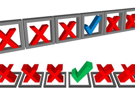 Een set van twee rijen van formulier vakjes ingevuld met vinkjes te stemmen.