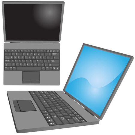 laptop screen: Top and side views of a laptop computer with key labels on keyboard and copy space on screen. Illustration