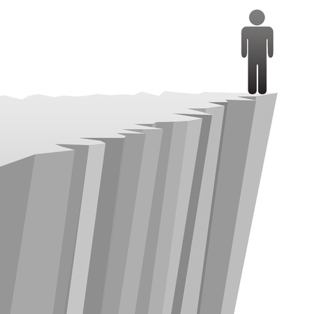 cliff edge: A symbol person stands on a steep cliff edge in danger of falling. Illustration
