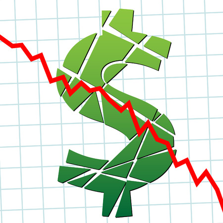 broken down: A broken dollar and down chart as a symbol of currency weakness.