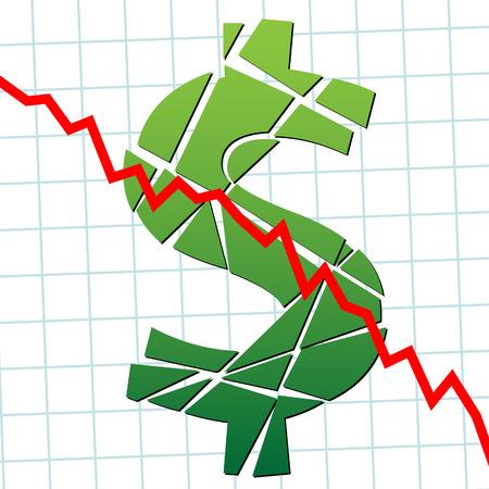 Een verbroken dollar en naar de grafiek als een teken van zwakte van de valuta. Stock Illustratie