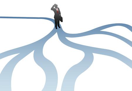 fourchette  route: Un homme d'affaires fait face � une d�cision de confusion pour choisir un chemin futur. Illustration