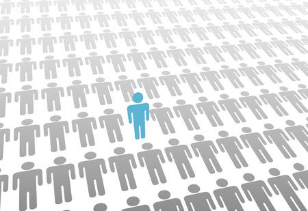 Een blauwe persoon opkomt in groep of van vlakke grijze inwoners vaststelling.