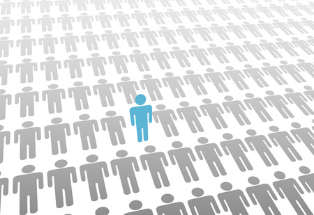 One blue person stands up in group or population of flat gray people laying down. Vector