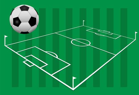 플래그와 함께 경기장 흰색 라인에 잔디의 배경에 축구 축구.