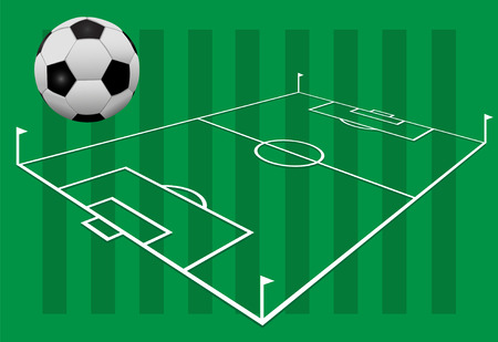 soccer field: A soccer football against a background of grass on white lines playing field with flags.
