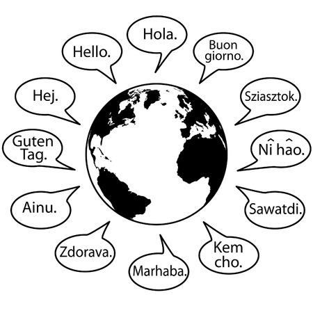 Traducir idiomas decir hola en las burbujas de la intervención de la tierra. Ilustración de vector