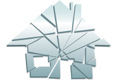 zarar: Concept of broken home or real estate damage or failure as a house symbol shattered to pieces.