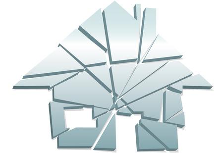 Concept verbroken thuis of schade van onroerend goed of fout als een symbool van huis gebroken stukken.