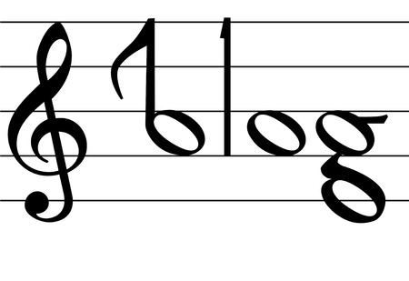 The word blog as notes on musical notation symbols for your music blog compositions.