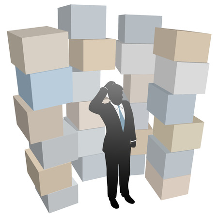 Businessman person with inventory problem in stacks of shipping boxes cartons. Иллюстрация