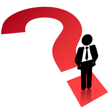 undecided: A business man stands on a question mark symbol to search find solution.