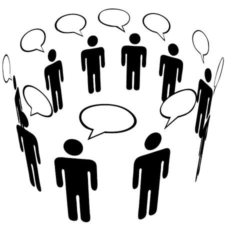 conversa: Todo el mundo habla a todo el mundo en una burbuja de intervenci�n de grupo de anillo de red de Social Media Talk.