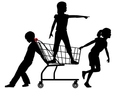 Three kids get a shopping cart rolling in a big shopping expedition. Vector