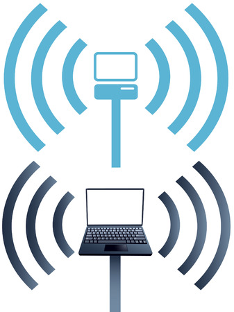 labeled: Laptop symbol and netbook with labeled keys on keyboard as wireless wifi computer network symbols. Illustration