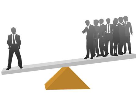 Un hombre de negocios en una escala vale su peso en comparación con un grupo de muchos trabajadores. Ilustración de vector