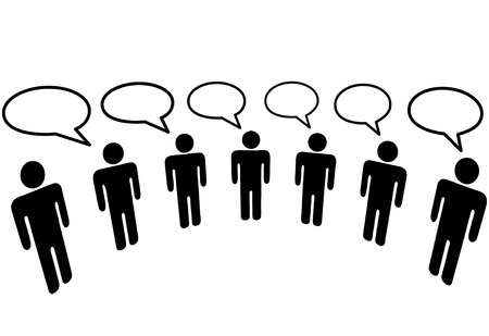 A group of Symbol People in a  Media Social Network connect to communicate and blog. Vector