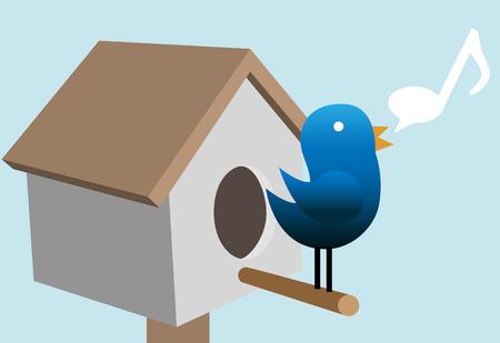 tweets: A blue Tweety bird tweet tweets on its bird house. Illustration