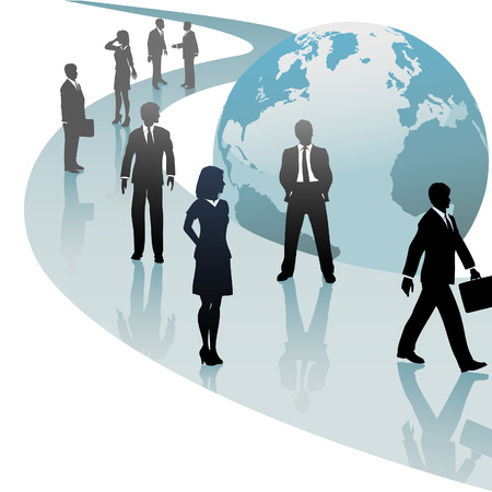 Group of international business people walk a future world path of progress. Vector