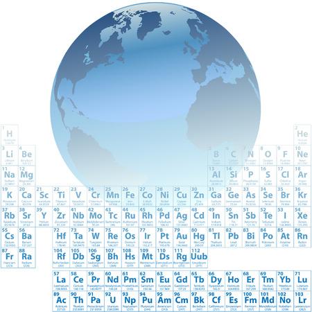 Científica de la tierra es hecha de átomos con una precisa tabla periódica de los elementos. Foto de archivo - 6915903