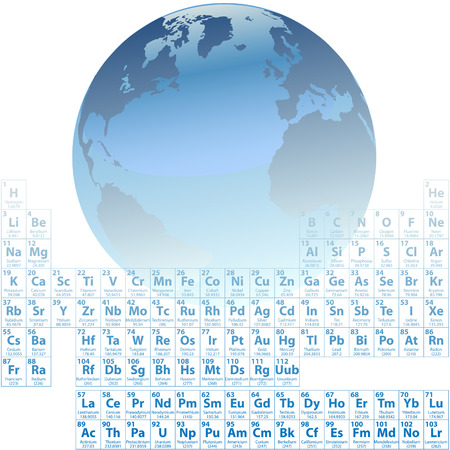 Scientific Earth is made of atoms with an accurate Periodic Table of the Elements. Vector