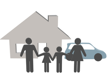 front house: A symbol people family at home hold hands in front of their house and car. Illustration