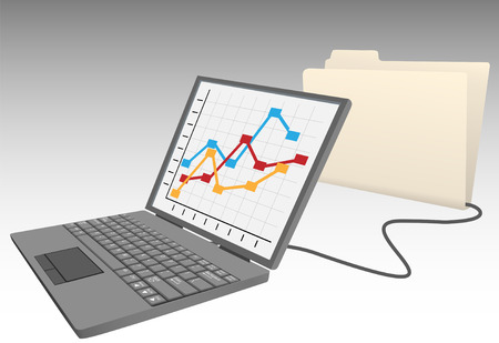 Laptop computer store data in database file folder Vector