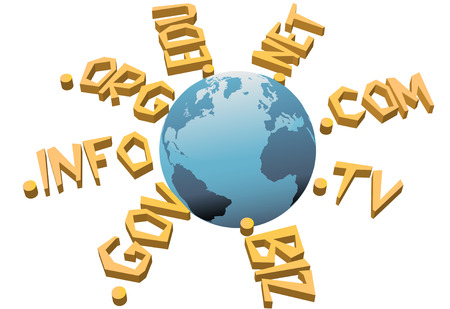 domains: World top level URL internet WWW domain names circle Earth.