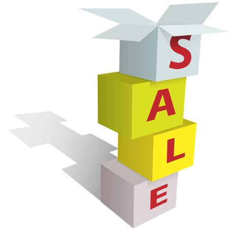 Ponga nada en venta con una pila de cajas de tienda de venta por menor como un signo.  Foto de archivo - 6915854