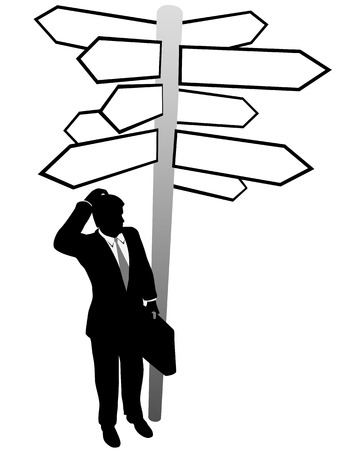 A confused business man searches decision directions signs to find a solution. Ilustração