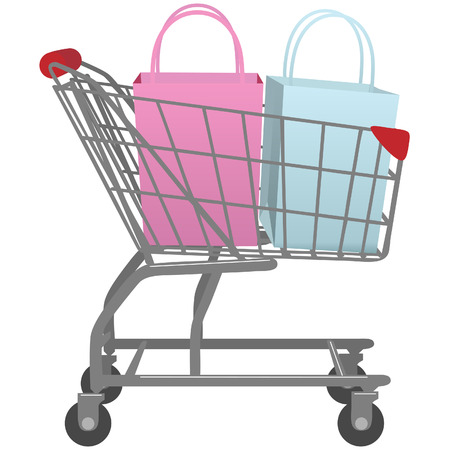 shopping cart isolated: A shopping cart carrying two shopping bags one pink bag one blue bag.