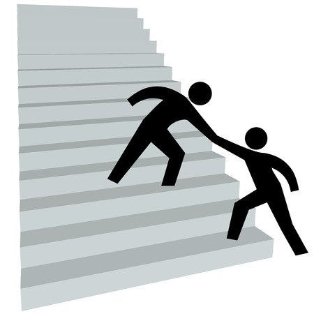 reach: A friend gives a person a helping hand up on to climb the stairway to success.
