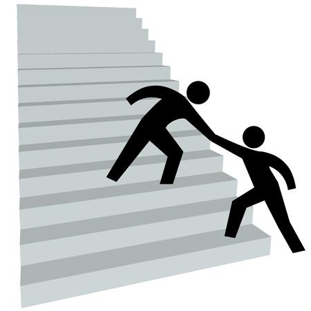 Een vriend geeft een persoon een helpende hand aan klim de trap op tot succes.