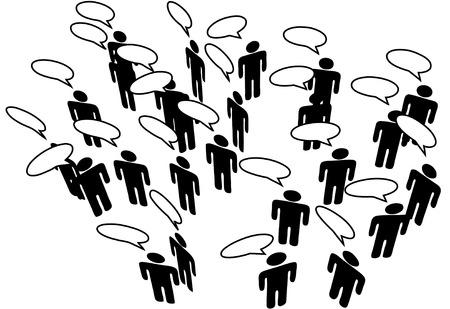 Mensen ontmoeten in een Social Media Network bespreken in communicatie Speech Bubbles