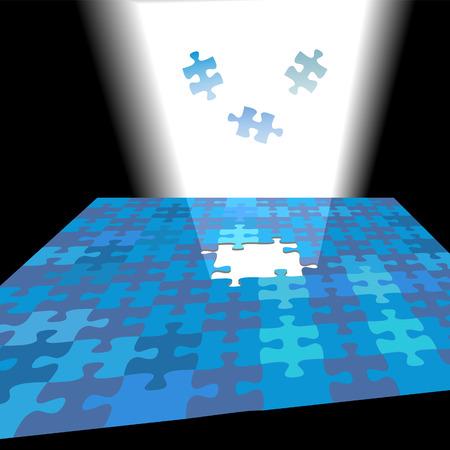 Een briljante oplossing schijnt door een puzzel probleem zoals stukjes in fel licht vallen vinden.